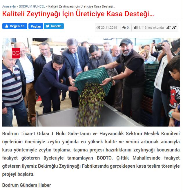 Bekiroğlu Zeytinyağ_Bodrum Gündem Haber